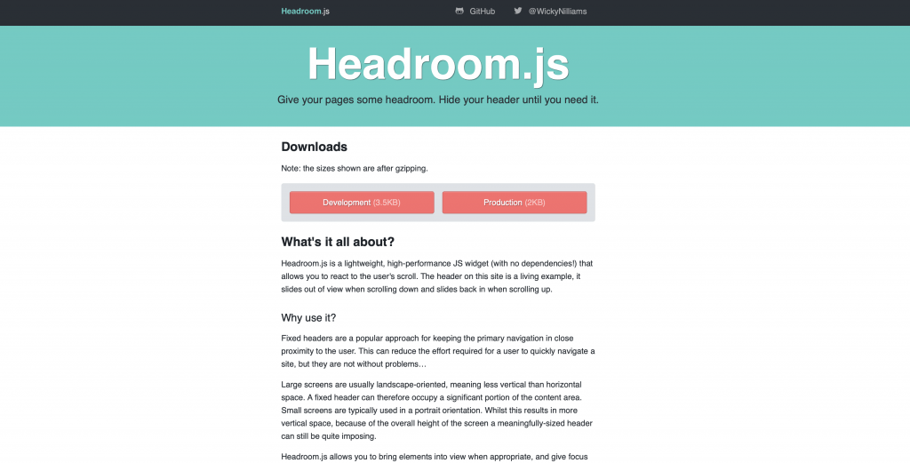 Introduction To Headroom js | iHeart Elementor